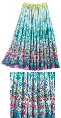 Ombre Paisley Elastic Waist Crinkle Skirt