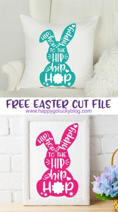 It's time for some Easter fun with this fabulous Easter Cut File Collection. Download the adorable Hip Hop Hippy to the Hip Hip Hop cut file I created along with 15 more Easter cut files and have fun creating DIY Easter projects. #easter #cricut #svgfiles