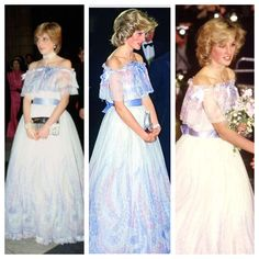 This is only three of the many times she wore this gown, it was worn twice before her marriage and again on the night her pregnancy with William was announced and she famously fell asleep