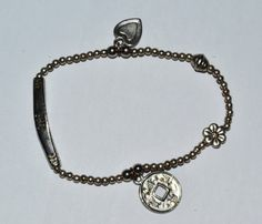 Beaded Bracelet Silver Plated Love / Heart sign by eventsmatters