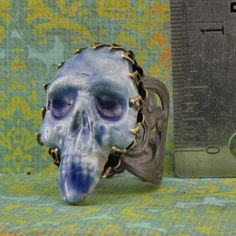 Handmade Raku Skull In Brass Adjustable Ring by oscarcrow on Etsy, $38.00