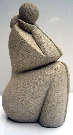 la femme et l'océan (Sculpture),  20x30x20 cm by Mireille Lauf-Marquis taille direste sur siporex