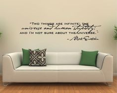 Vinyl Wall Decal Art Saying Quote Decor - Two Things Infinite Albert Einstein