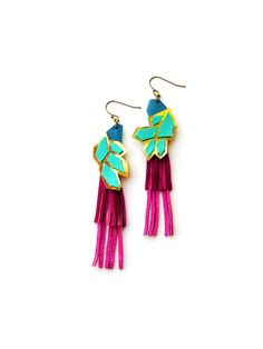 Geometric Leather Fringe Earrings, Jewel Tone Magenta, Turquoise, Blue and Gold Color Block Statement Earrings