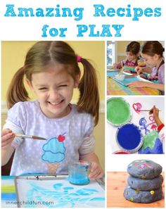 Your Guide to Amazing Recipes for Play -- homemade paint, sidewalk chalk, bubble solution, play dough, and more! Making great memories. Craft Activities For Kids, Projects For Kids, Preschool Activities, Fun Crafts, Crafts For Kids, Homemade Paint, Creative Play, Creative Ideas, Sidewalk Chalk