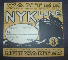RARE NYK SS Maru Japan Shipping Luggage Label C 1920 | eBay