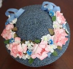 LD Hat hand-made out of high quality Swiss straw braid, decorated with vintage flowers, by PetitePrincessDesigns via eBay