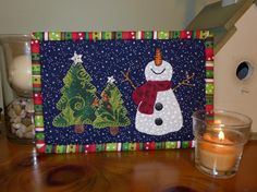 snowman mug rug | The Happy Snowman Mug Rug pattern by SHDesigns is made with fusible ...