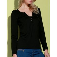 Sexy V-Neck Long Sleeve Pocket Design Slimming Women's T-Shirt