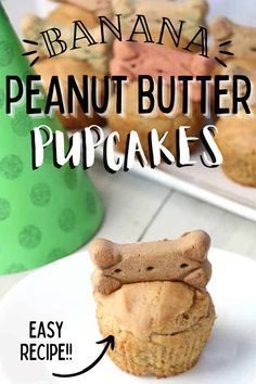 Celebration Peanut Butter Banana Pupcakes are the perfect way to show your four-legged friend just how special they are. Filled with dog-safe ingredients, they are a delicious sweet treat! #homemadedogtreats #pupcakes Puppy Cake, Holiday Recipes, Party Recipes, Homemade Dog Treats, Peanut Butter Banana, Barbecue Recipes, Pinterest Recipes, Slow Cooker Recipes, Sweet Treats