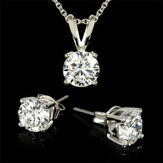 2-Piece Set: Twinkling 3 Carat Total Weight CZ Necklace & Earrings at 97% Savings off Retail!
