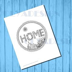 Home coloring page Adult coloring page instant by olyadesign