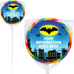 Check out Bat Personalized Lollipops (12 Pack) - Discount Party Candy &…