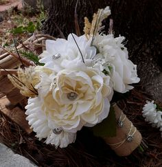 Silk Real Touch Bride Bouquet,  Burlap and Sisal Twine, Bridesmaids, Rustic Chic Country ,  Elegant, Vintage Rhinestone Jewelry  Buttons
