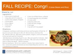 Congri recipe from Lori. Cookbook recommendation: The Habana Café Cookbook by Josefa Gonzalez-Hastings (http://ow.ly/pSZTX)