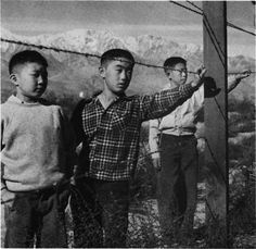 Boys behind barbed wire at Japanese Internment camp