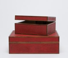 Cabana Home Shagreen box trimmed with wood.  Available in Scarlet, Cool Grey, Ivory Dark Mushroom, Turquoise and Sand