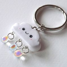 Happy Rain Cloud Charm Keychain Kawaii by PitterPatterPolymer Fimo Clay, Polymer Clay Charms, Polymer Clay Creations, Clay Projects, Clay Crafts, Fimo Kawaii, Biscuit, Diy Keychain, Cute Clay