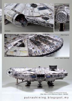 by Putra Shining Star Wars Crafts, Star Wars Toys, Star Wars Art, Millennium Falcon Model, Nave Star Wars, Arte Alien, Star Trek Cosplay, Star Wars Spaceships, Star Wars Design