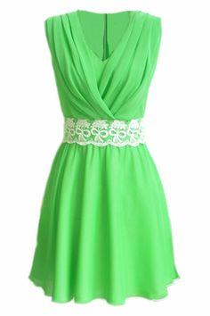 #RomwePartyDress ROMWE | Dual-tone V-neck Green Pleated Dress, The Latest Street Fashion