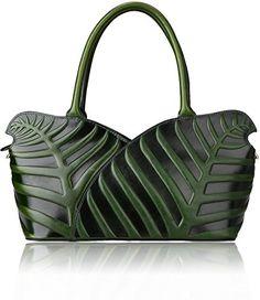 Pijushi Designer Leaf Genuine Leather Top Handle Bag Shoulder Handbags