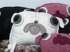 pug cushions White Pug, Warm Fuzzies, Cushions, Pillows, Dog Names, Plushies, Cool Things To Make, To My Daughter, Snow White