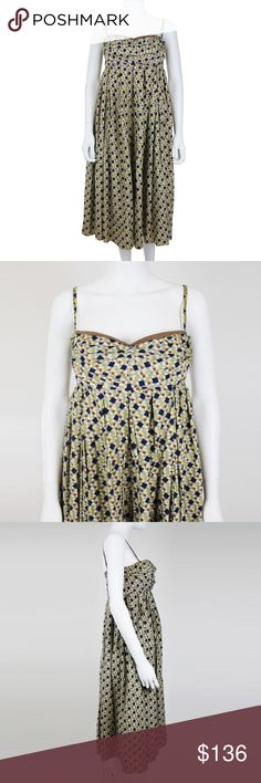 "MARNI A Line Sleeveless Summer Halter Dress Brand: Marni Color: Beige, Blue, Orange, & Brown Material: 100% Cotton Made in Italy Halter top Empire dress Side zip closure Long   Condition Good pre-owned condition  Measurements Size: IT 42 / US 6 Bust (seam to seam): 16"" Strap Drop (seam to seam): 7"" Strap Length (seam to seam): 14"" Full Length (seam to seam): 37.5"" Marni Dresses"