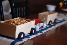 "Train server (kcommunicated.com): Cover shoe boxes in kraft paper and add ""wheels"" to serve food at a train birthday party, transportation bash, and more!"