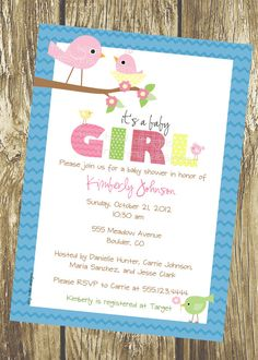 Baby Birds - Baby Shower Invitations (Baby Girl), DIY Printable, digital file (item 1021). $12.00, via Etsy.