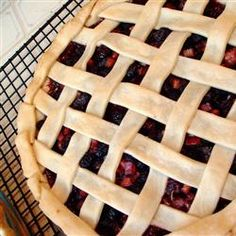 Mulberry Rhubarb Pie - no clue where to find a mulberry so we used blackberries.  Quite good.
