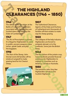 Teaching Resource: A 24 page resource pack of posters, worksheets and activities to use in your classroom when discussing Scottish History and The Highland Clearances. Scottish Gaelic, Scottish Clans, Scottish Highlands, Scottish Bagpipes, Scottish Tartans, Outlander, Scotland History, Scotland Travel, Scotland Trip