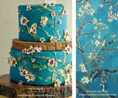 Wedding cake art. A replica of Vincent van Gogh's Almond Blossom. Turquoise and blue frosting branches with white chocolate blossoms.