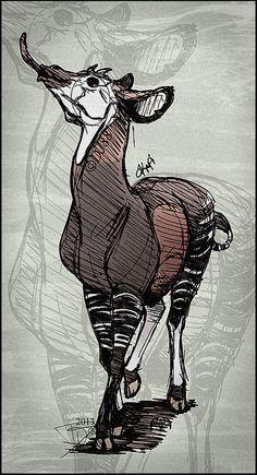 Okapi Pen by on DeviantArt Cartoon Drawings Of Animals, Cartoon Girl Drawing, Animal Sketches, Art Sketches, Really Cool Drawings, Beautiful Drawings, Pi Art, Okapi, Fabric Animals