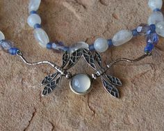 Dragonflies in Moonstone Sterling Silver Necklace 22 by mommysmoon, $60.00