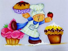 painting on fabric doll with mufins and Ginger Cupcakes
