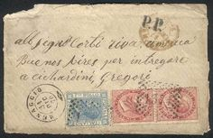 "Italy, 31/DEC/1870 MENAGGIO - ARGENTINA: cover franked by Sc.31 pair + 35 (Sa.20 + 26), numeral cancel ""1371"", several postal markings, little opening defect, interesting! Starting Price (11/2016): 45 EUR."