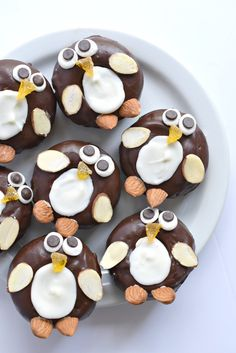 How cute! Penguin chocolate-frosted mini donuts. Gluten free vegan too!