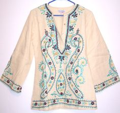 Embroidered Hippie Top True Vintage 70's Boho Peasant Blouse Tunic Dashiki Shirt #Unbranded