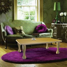 Merveilleux Green Purple Room, Wood Floor, Accessories, Lamp, Rug, Cushions, Patterned