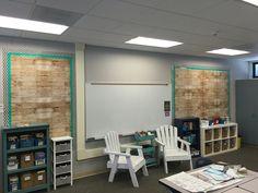 Shiplap bulletin boards classroom