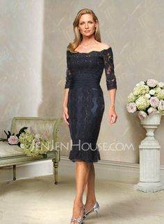 Mother of the Bride Dresses - $136.99 - Glamorous Sheath Off-the-Shoulder Knee-Length Charmeuse Mothers With Lace (008004176) jenjenhouse.com