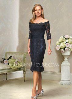 Kleider für die Brautmutter - $136.99 - Glamourös Etui-Linie Carmen-Ausschnitt Knielang Charmeuse Kleider für die Brautmutter mit Spitze (008004176) http://jenjenhouse.com/de/pinterest-g4176