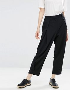 ASOS White   ASOS WHITE Pull On Pants With Pleat Front