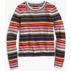 J.Crew Rainbow Stripe Sweater ($120) ❤ liked on Polyvore featuring tops, sweaters, crew top, crew neck sweaters, crewneck sweaters, merino wool sweater and merino crewneck sweater