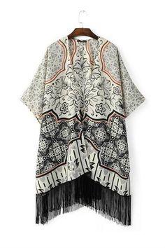 Vintage Digital Pattern Tassel Kimono