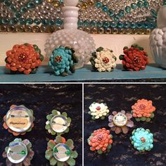 Pinecone flower brooches