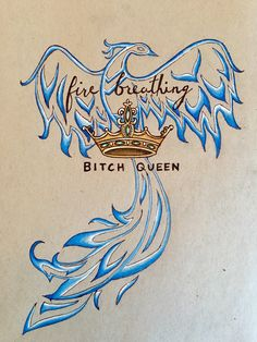 Throne of Glass tattoo design, fire breathing bitch queen  @mscrystalbeard
