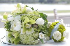 Aime Peterson Flowers and Event Design  #White #Green #Peony #Rose #GrassLoop #Hydrangea #Modern #Kermit #Mums #ButtonMums #Sphere #FlowerBall #Cymbidium #Orchid #Handtied #Bouquet #Bride #Groom #Wedding #Flowers #Spring #Fall