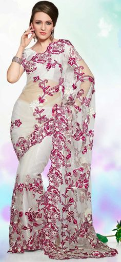 Classic Off White Net Party Wear Saree - IG8497 USD $ 103.42