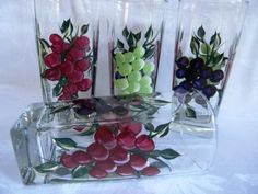 Beverage set w/grapes by Morningglories1 on Etsy, $40.00